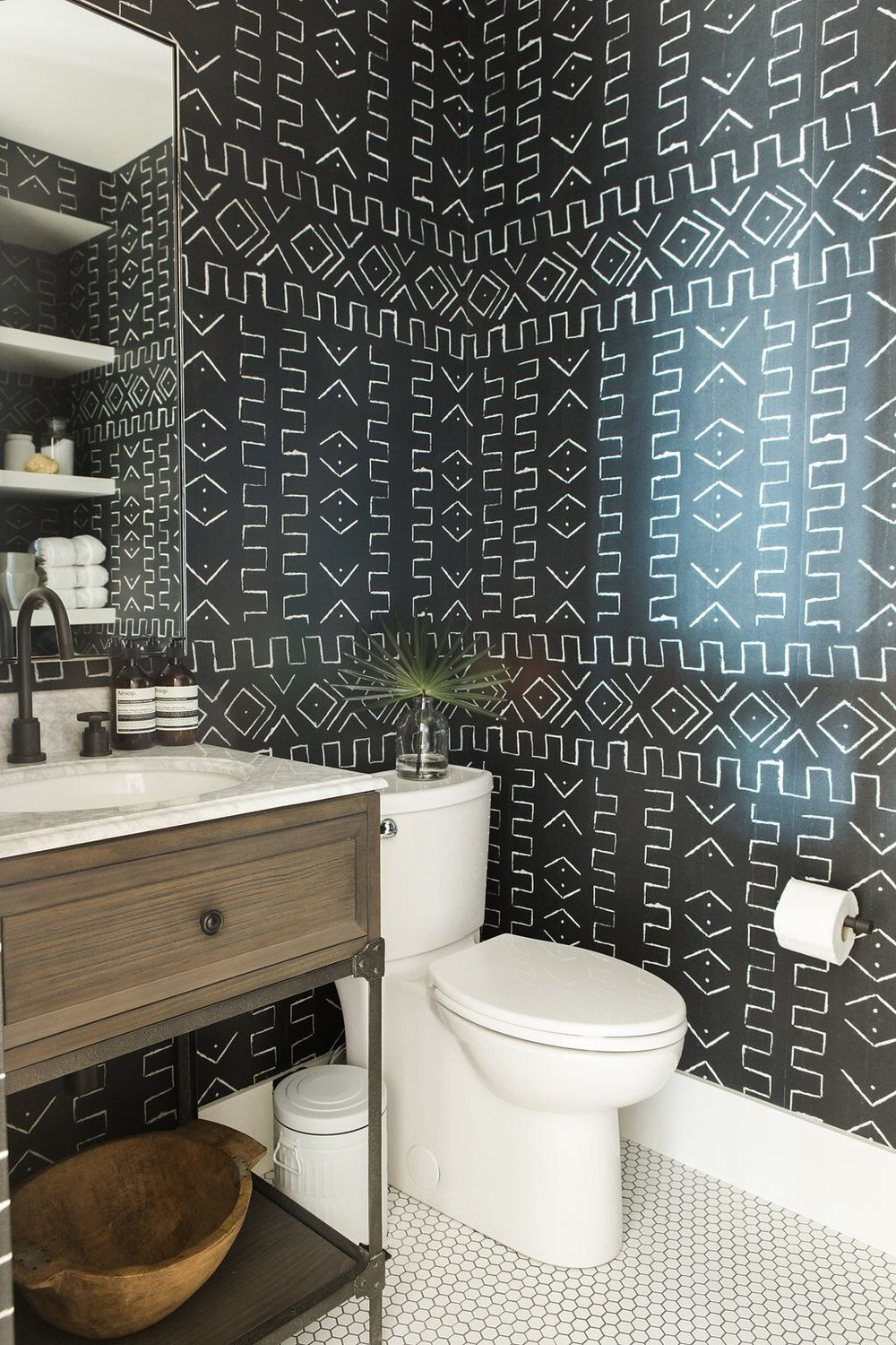 Dramatic tribal bathroom wallpaper