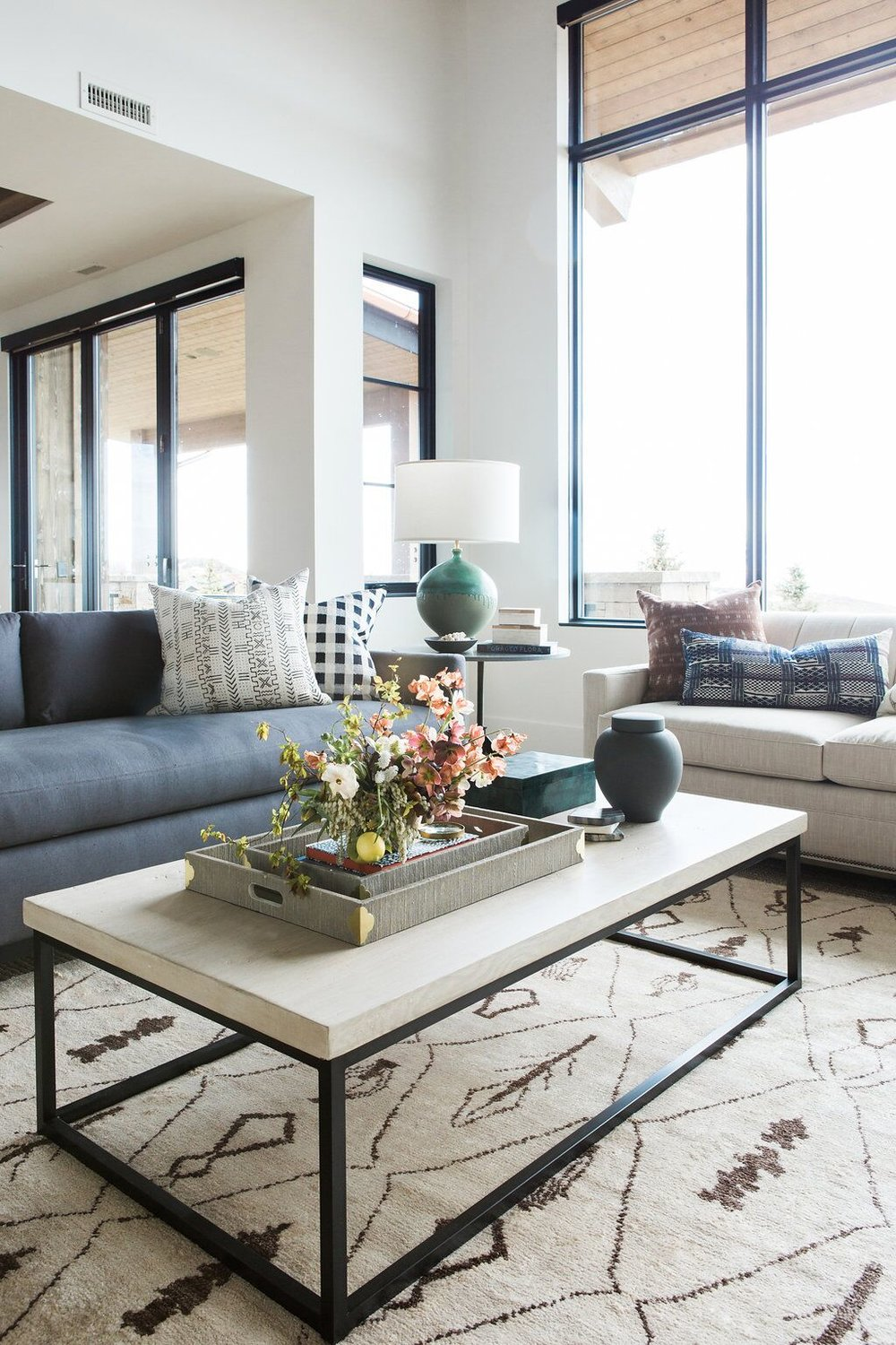 Modern, white coffee table in living room