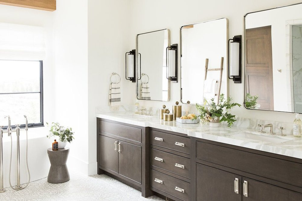White bathroom with double vanity