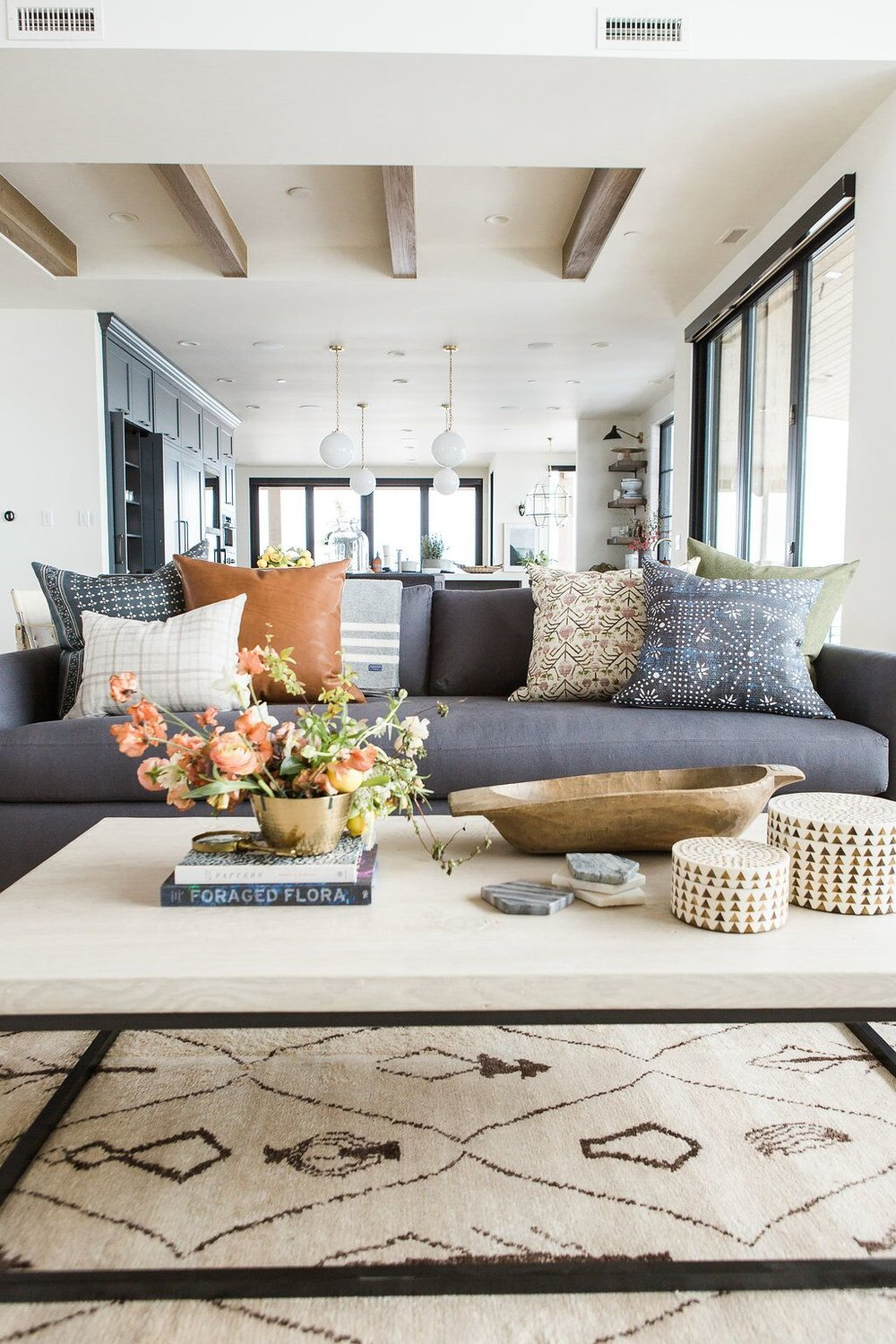 Boho Chic Living Room Brown Couch