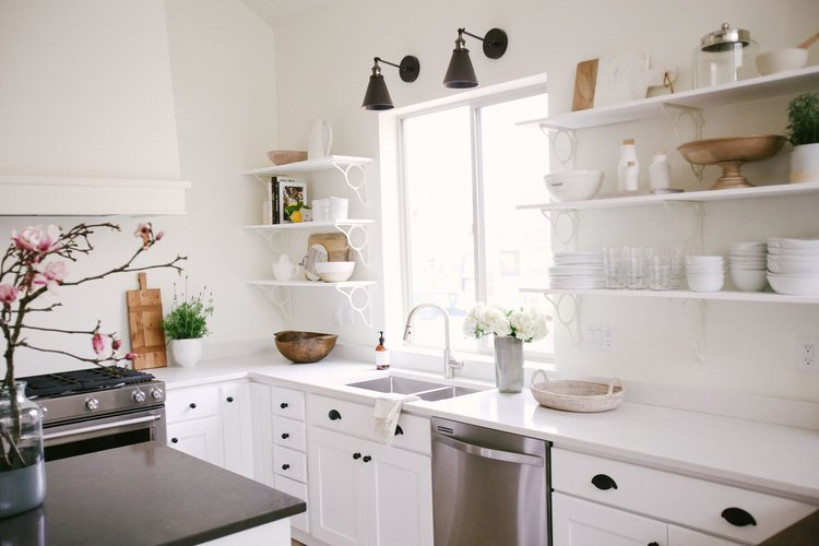 minimalist kitchen interior design. All White Minimalist Kitchen Styling with Black Hardware  Open Shelving and Natural Wood Accents How To Style a STUDIO MCGEE