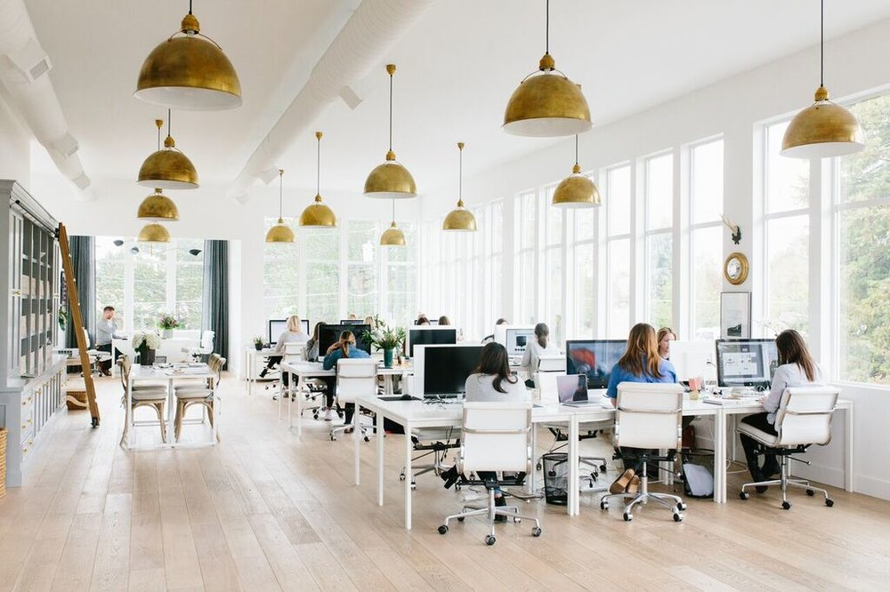 Superbe Although The Studio Gets Plenty Of Natural Light From Our Lined Windows, We  Love Our Eugene Brass Pendants So Much We Added Them To The Office!