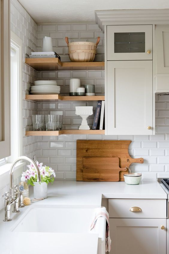 Beveled Subway Tile In Kitchen