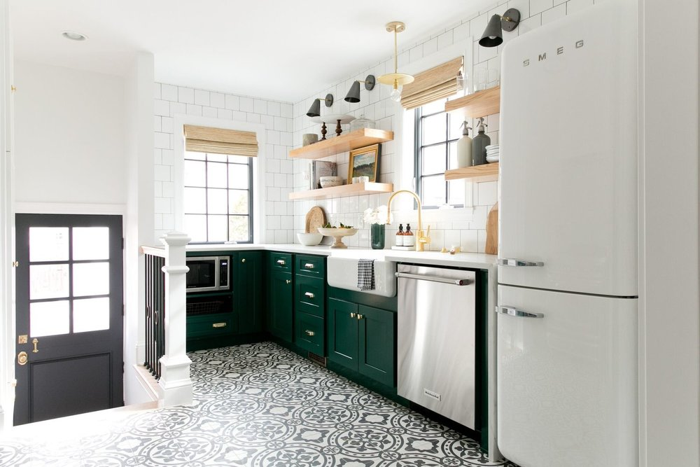 Modern+Vintage+Kitchen+with+cabinets+in+Benjamin+Moore's+Forest+Green,+open+shelving,+and+cement+tile.jpg