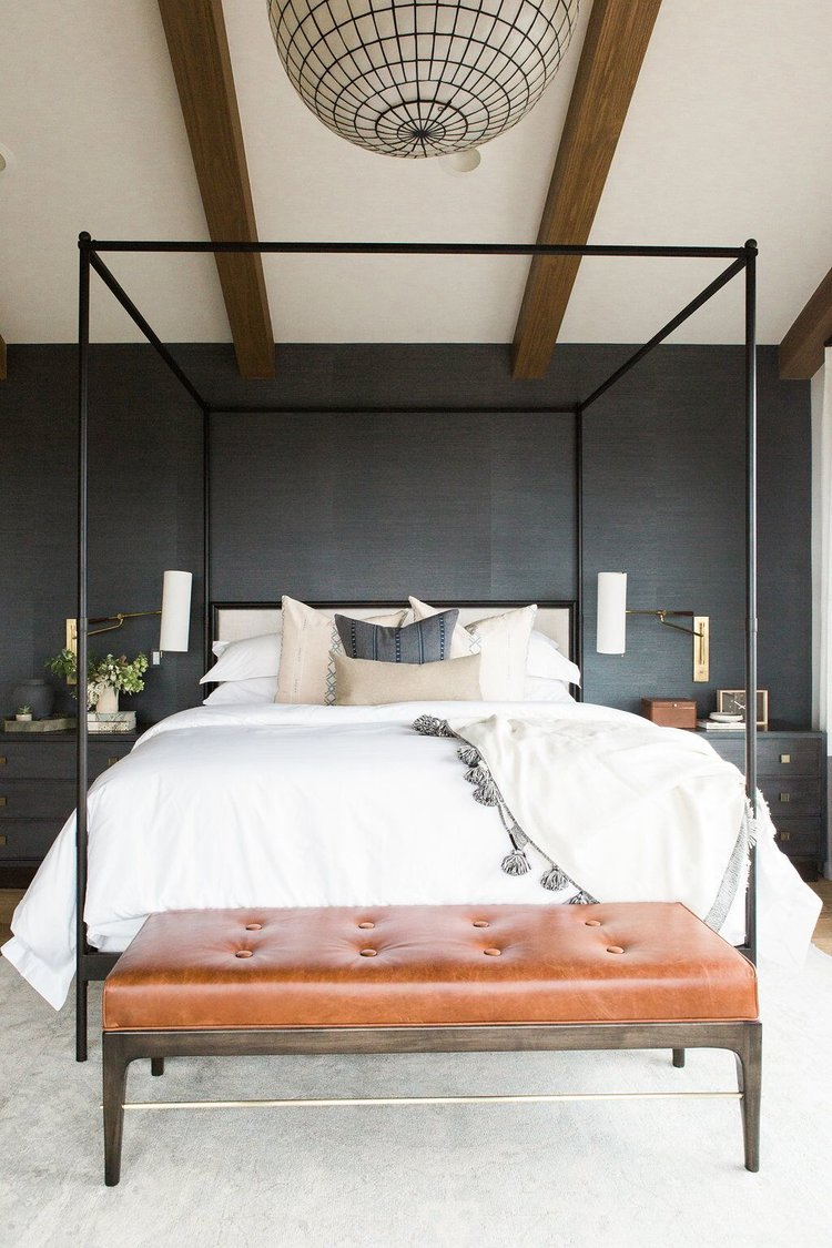 Master+bedroom+in+blue+grasscloth+wallpaper,+statement+chandelier,+and+leather+bench.jpg