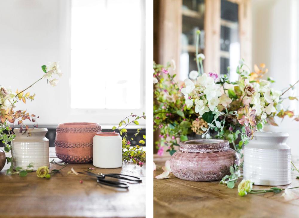 PLANTERS & POTS SHOWN: Greige Pot,Dot Striped Planter, White Mini Terracotta Vase, Amiata Planter