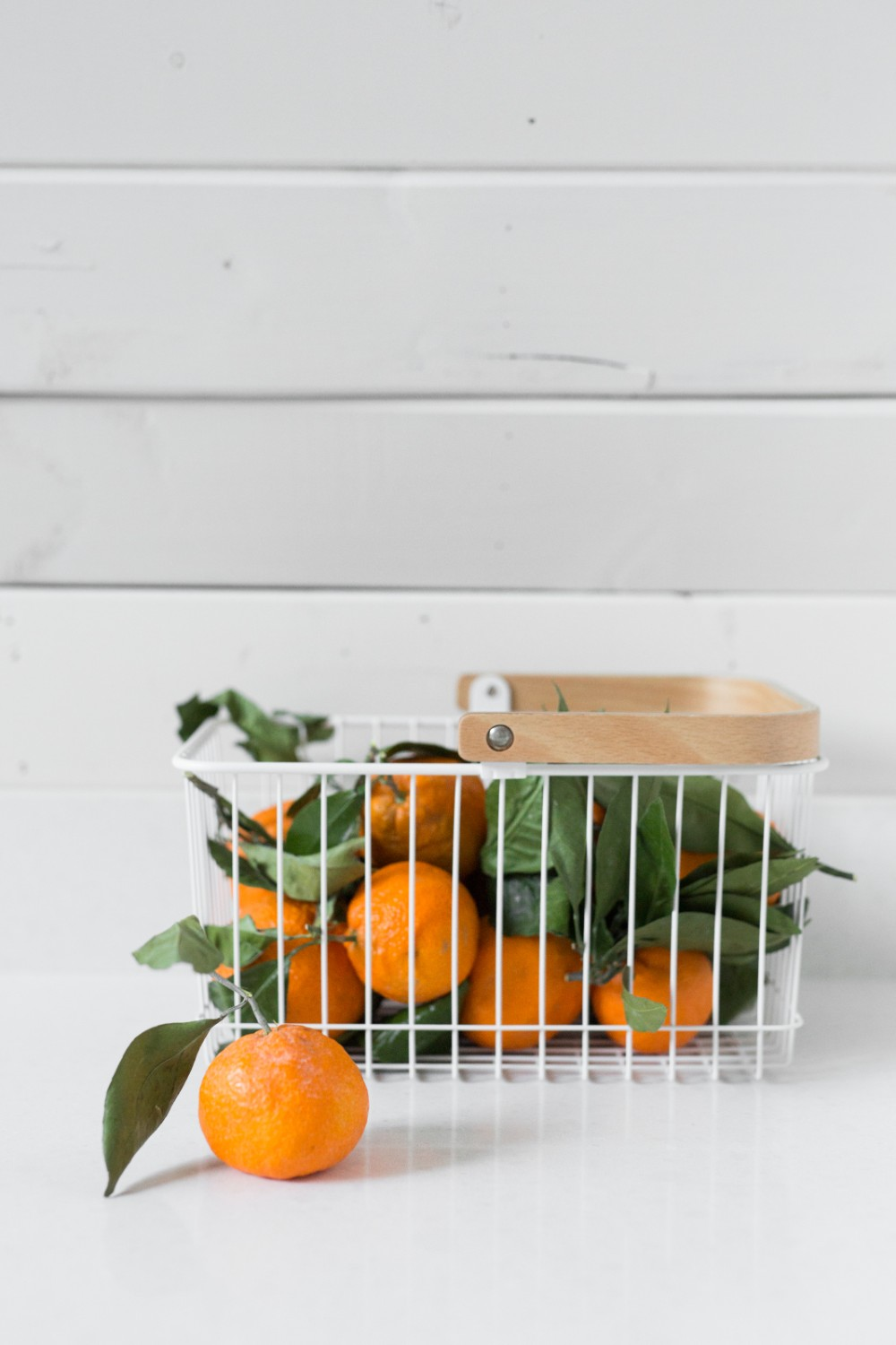 Wood Handled Storage Baskets in White   or Black
