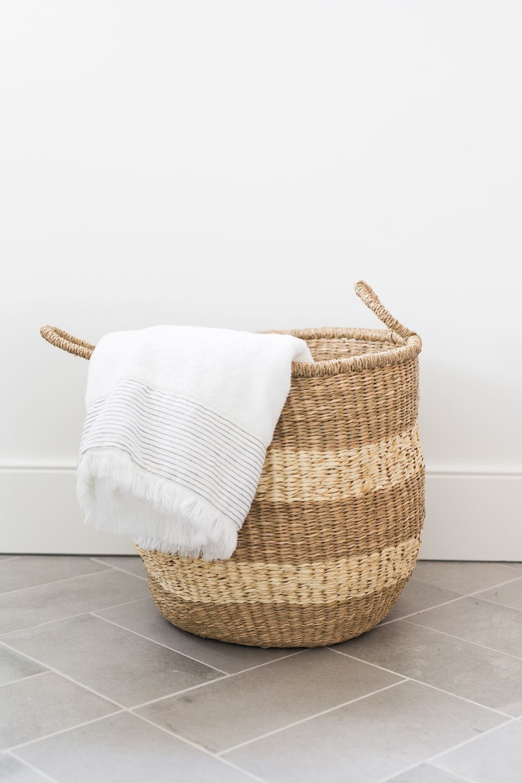 Shop:  Striped Round Baskets ,  Rockport Bath Towel