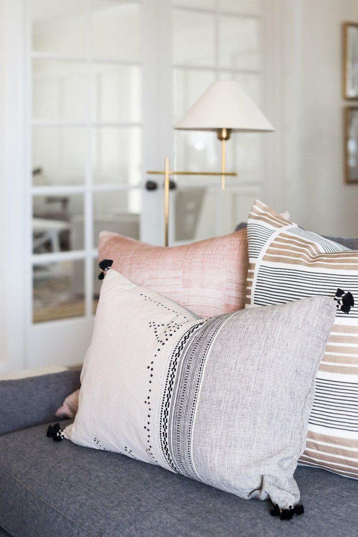 Shop Pillows:  Ruby ,  Saroo ,  Hayes Broken Stripe
