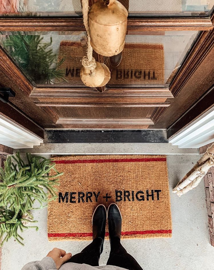 Merry + Bright Doormat - by Chris Loves Julia