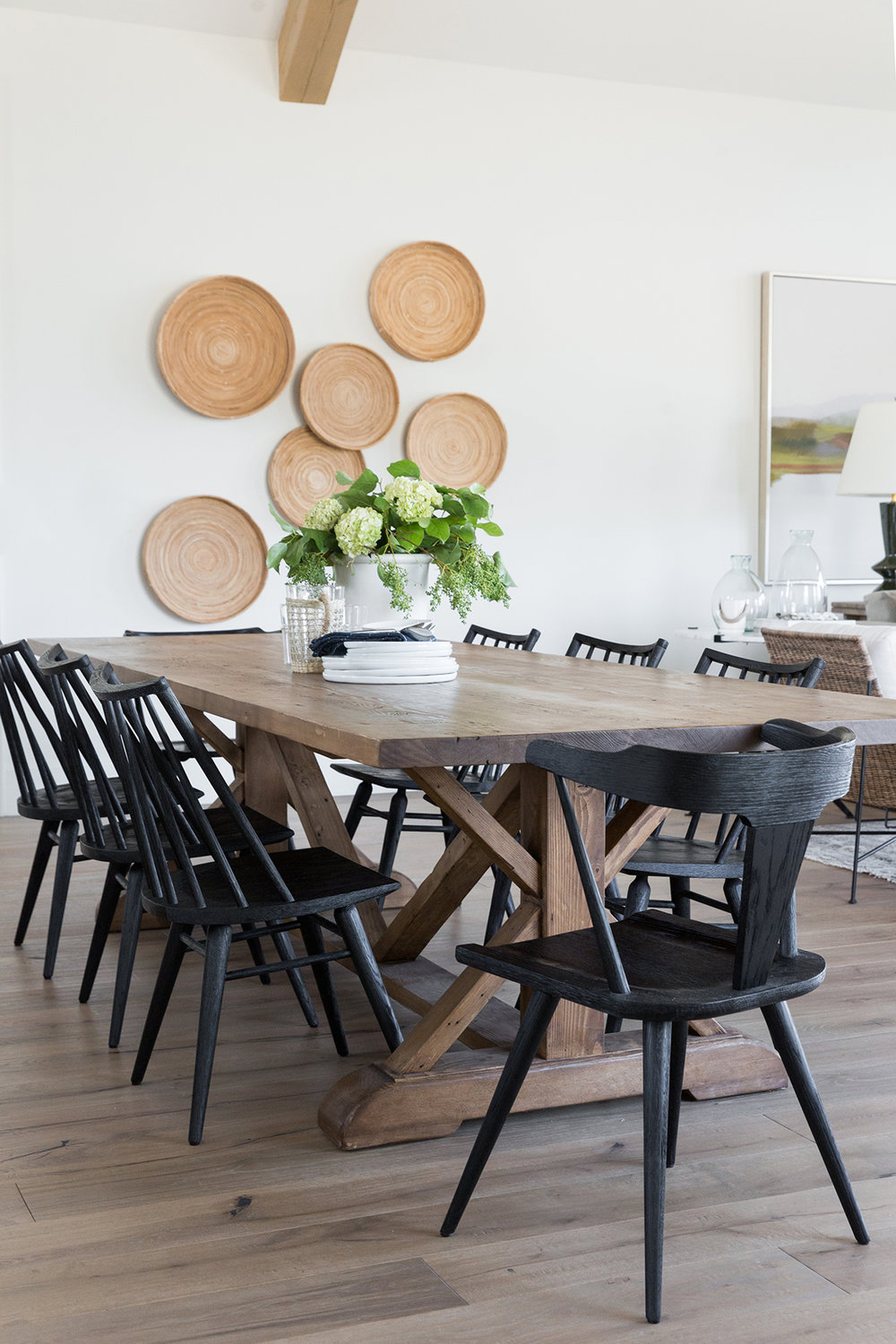Dining+room+with+exposed+beams,+mismatched+chairs,+black+chairs+in+mountain+home+-+Studio+McGee+Design.jpg