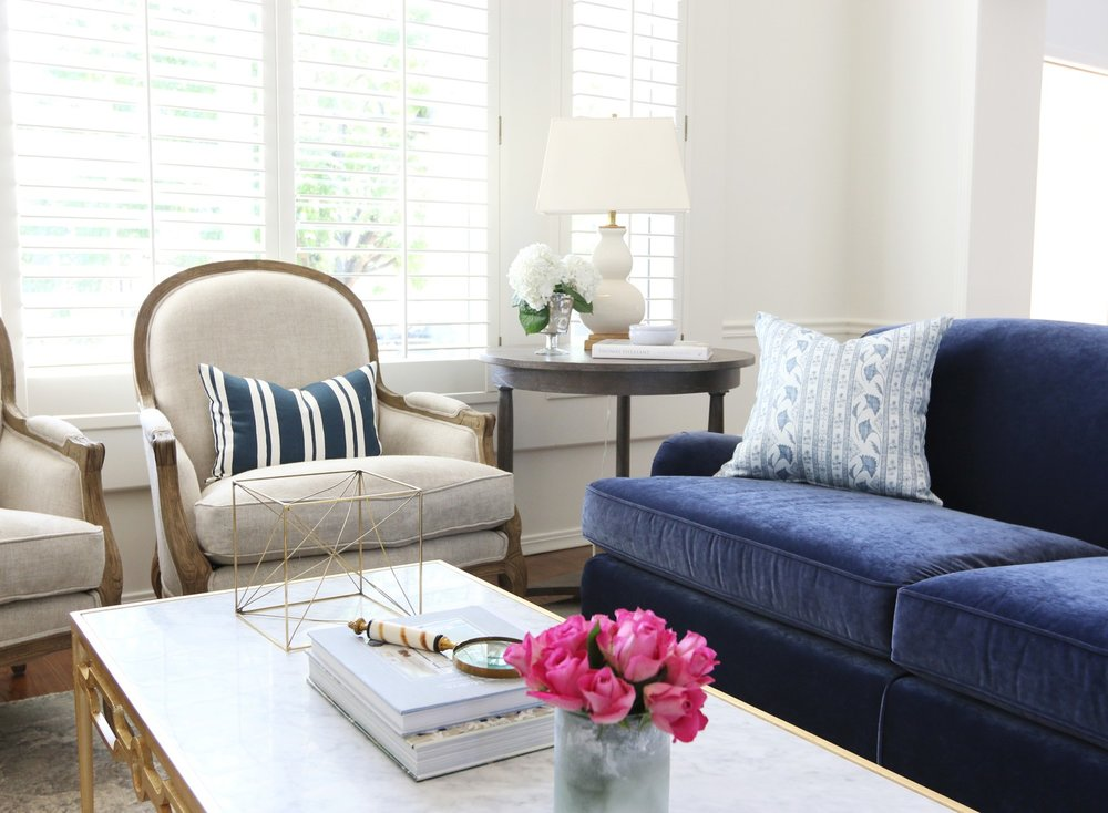 Navy, white and gold living room makeover by Studio McGee