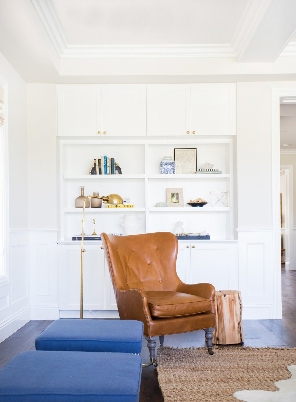 Leather wingback and bookcase styling || Studio McGee