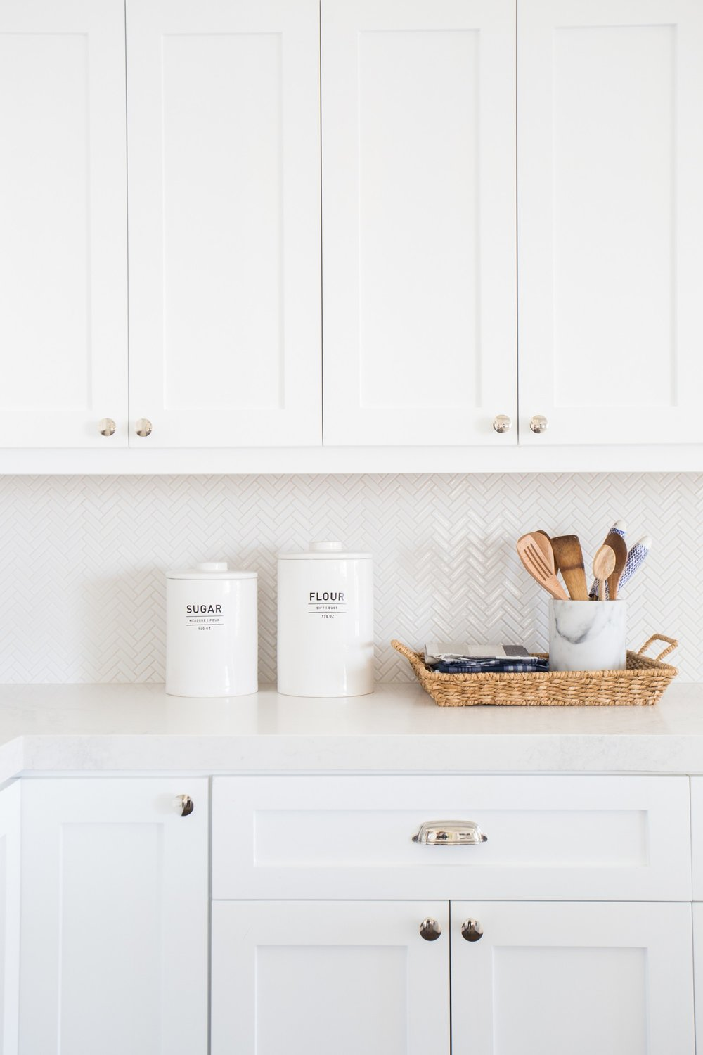 Tiny Herringbone Backsplash || Studio McGee