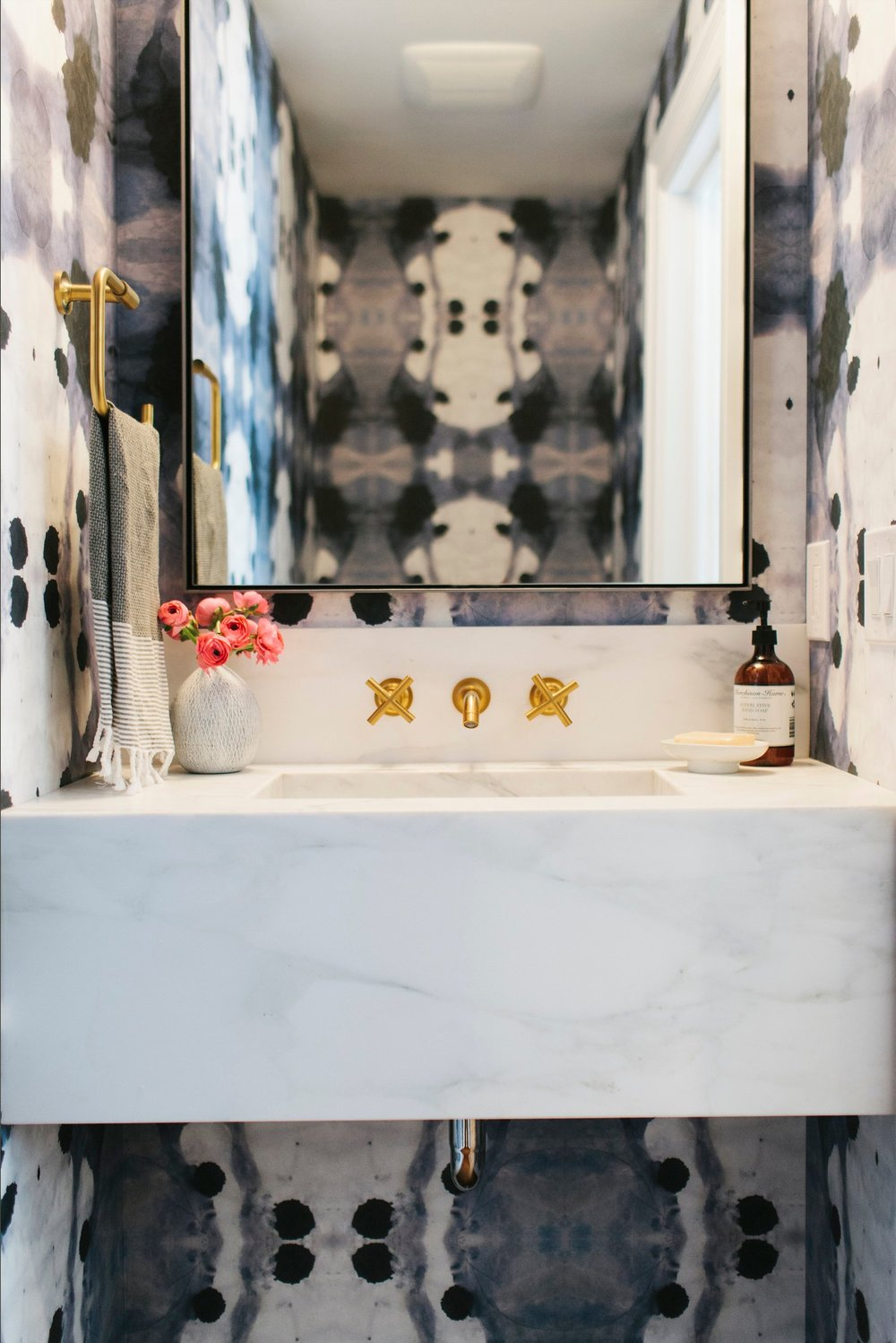 Navy + Brass + Floating Marble Sink || Studio McGee