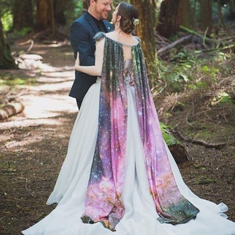 Here is a great shot of my cosmic cape. Printed in house at @fbistudios on 100% silk. Photos by @hannahwahlphoto Cape designed and made by next ❤️#featherandfoxgetmarried #handmade #whidbeywedding #weddingcouture