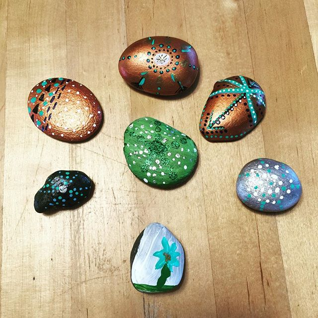 Found a #whidbeyrocks today on our errands. Evie and I decided to make 7 more to hide for others to find. #whidbeyislandrocks
