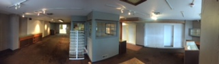 A before panorama of our huge new space, soon to be our amazing hub of possibilities.