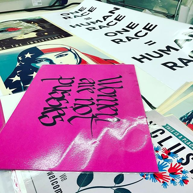 This was my day in the shop... #protestposters #shepardfairey #indivisible #wethepeople #womensmarchseattle #womensmarchonwashington