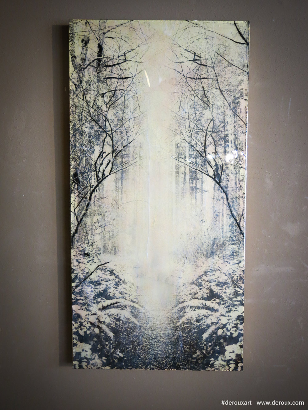 Bloedel #1,  48x24, Resin, mixed mediums on canvas. 2015