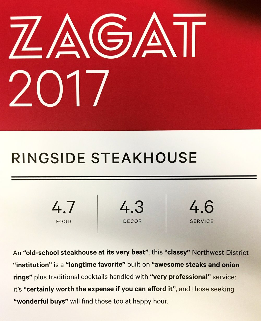 Food, decor, and service ratings    Zagat ratings range from 1 to 5, where 5 is the most favorable rating.    4.6 - 5.0  Extraordinary to perfection    4.1 - 4.5  Very good to excellent    3.1 - 4.0  Good to very good