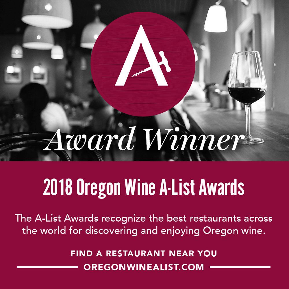 Oregon Wine A-List Awards recognize restaurants across the world displaying enthusiasm for Oregon wine and a deep appreciation of the diverse regions, varietals and producers of Oregon. Learn more.