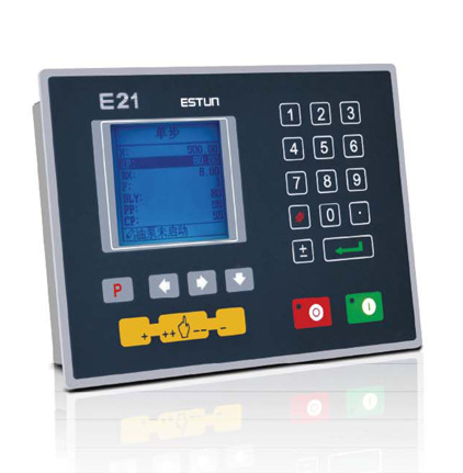 The Estun E21 NC provides for simple programmatic control of hydraulic press brakes.