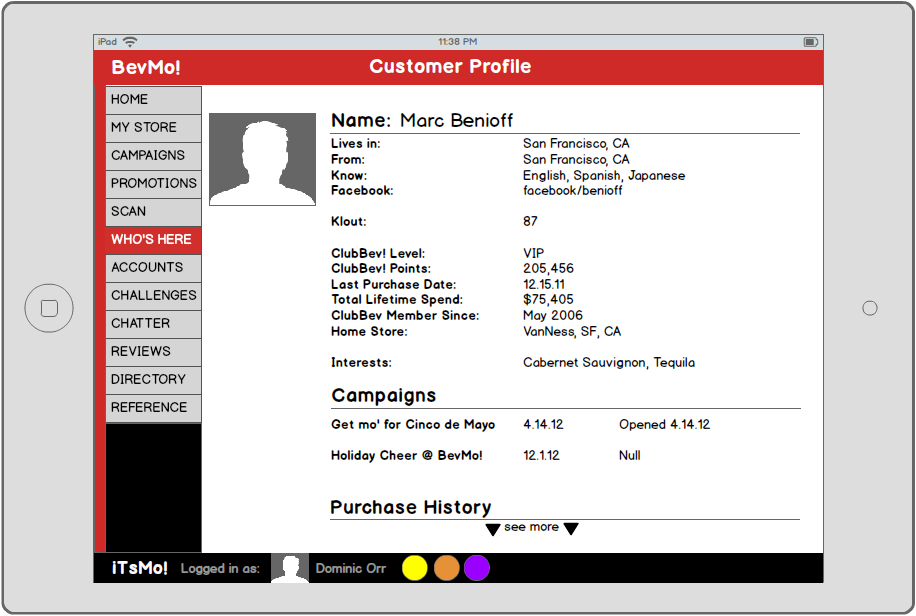 VIP profiles give the opportunity for BevMo! sales associates to deliver a personalized customer experience