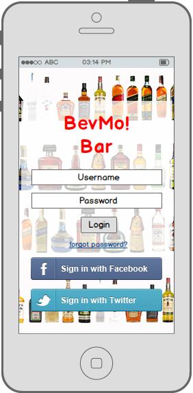 BevMo! consumer iPhone application LogIn screen