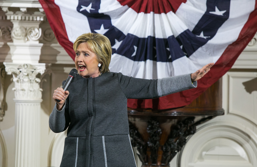 "February 29, 2016 - Former Secretary of State Hillary Clinton speaks during a rally at the Old South Meeting House in Boston, Mass. on the eve of Super Tuesday. ""The stakes have never been higher. I don't know what those founders and early patriots would think about what we're up against today,"" Clinton said referring to the historic tea party meetings held in the same space. Super PAC-funded Clinton will face grassroots candidate Senator Bernie Sanders D-Vt. as 11 states vote to decide the democratic nominee for the U.S. presidential election. ©Mike Schwarz"