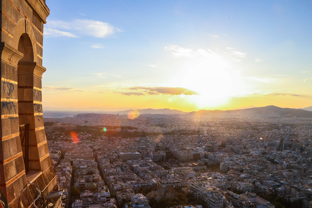 The summit of Lycabettus Hill. It is the highest point in Athens, sitting at around 900ft above sea level.
