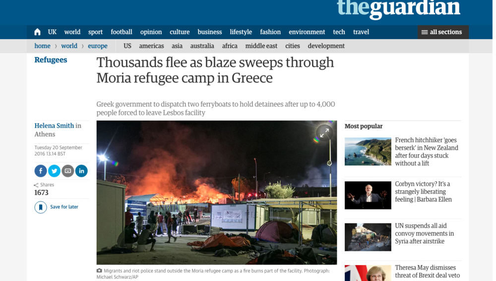 The Guardian - Moria Refugee Camp Riot Coverage