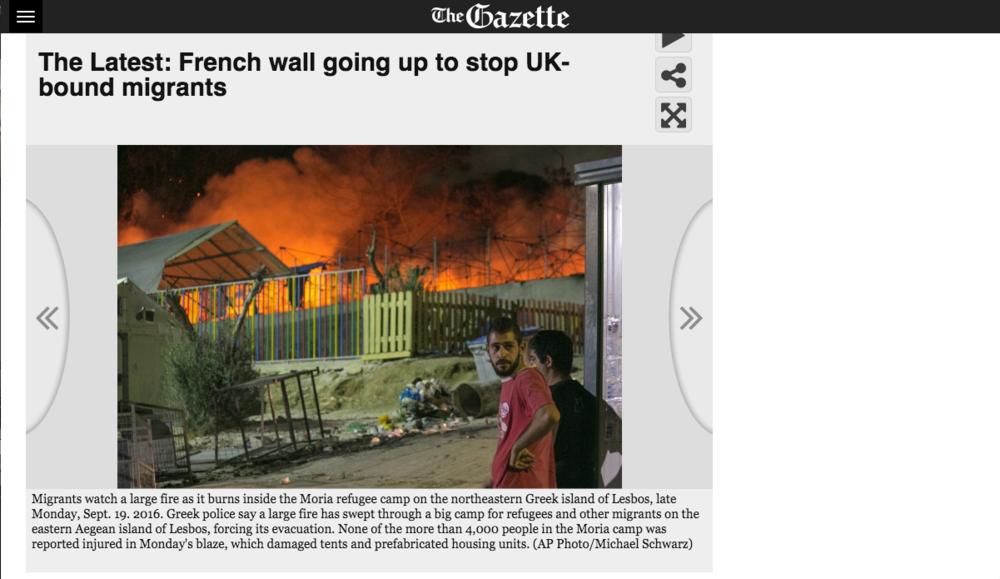 The Gazette - Moria Refugee Camp Riot Coverage
