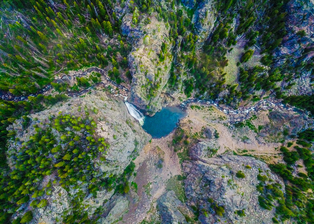 Porcupine Falls, Big Horn National Forest, WY - Drone Elevation 430 meters