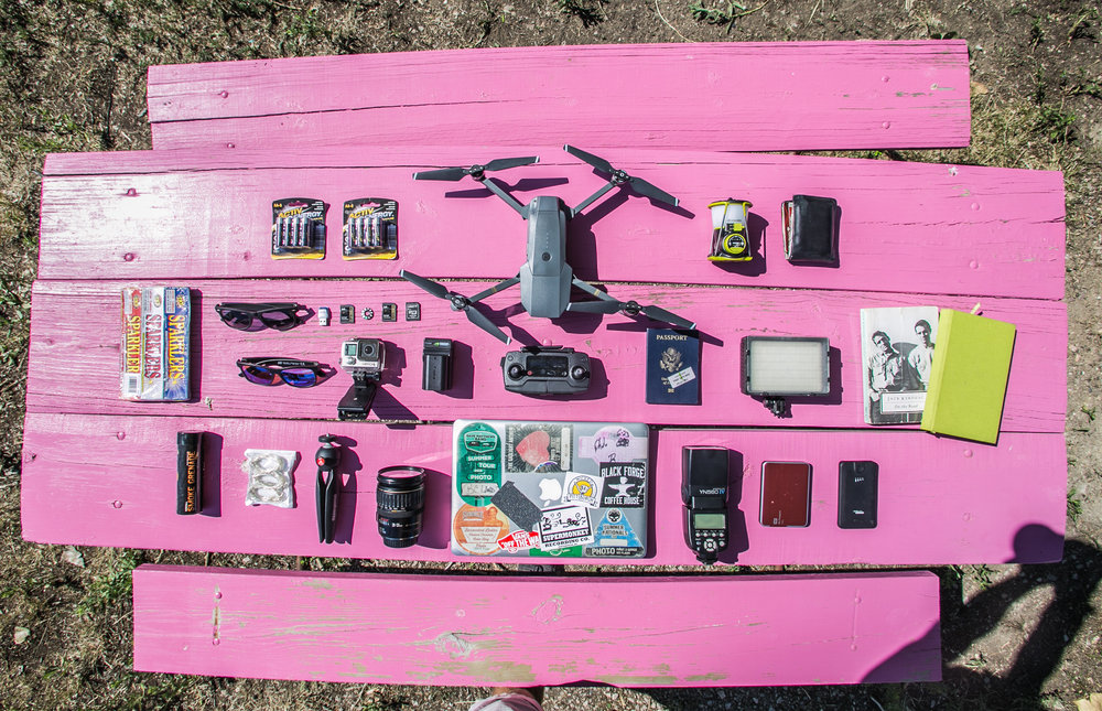 Michael's trip equipment laid out on a shitty picnic table in South Dakota.