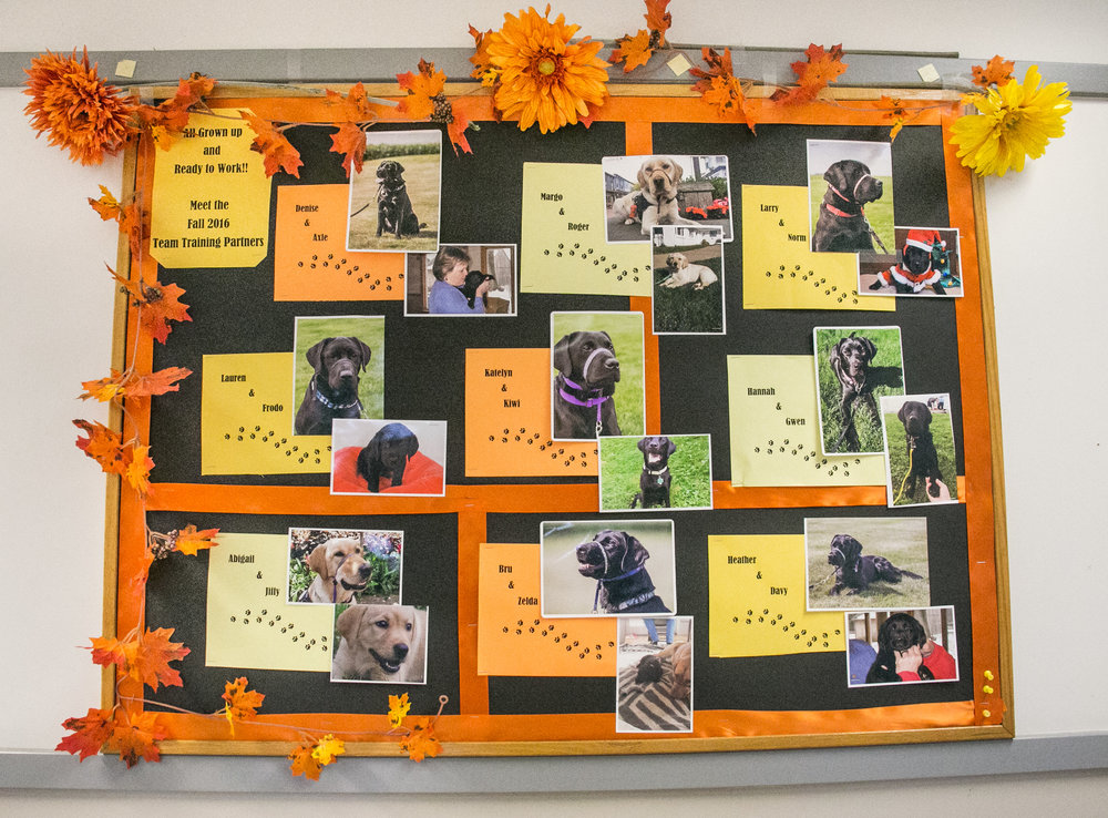 The introduction board walking into the main building of the Canine Partners for Life Headquarters in Cochranville, PA.