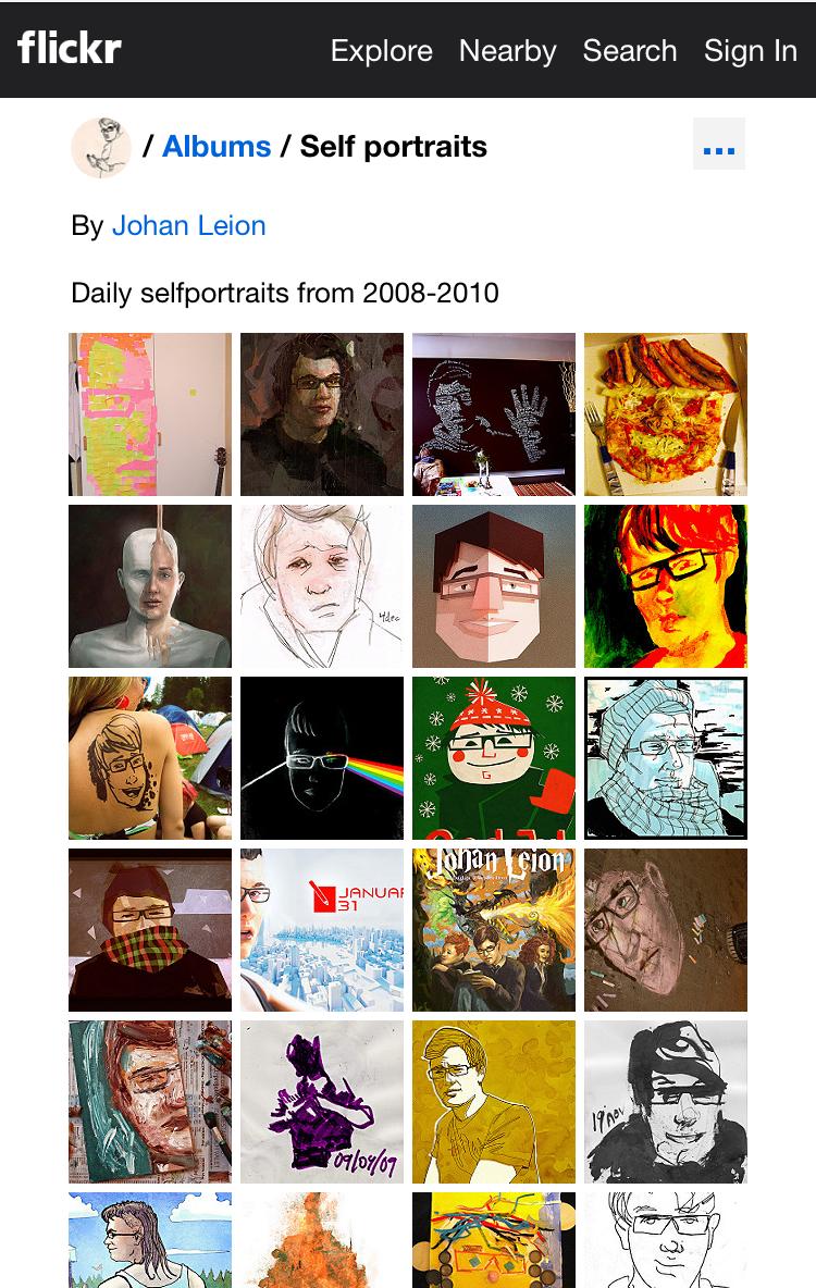 Grafikern Johan Leion gjorde under många år ett självporträtt varje dag.  Här har han samlat dem.