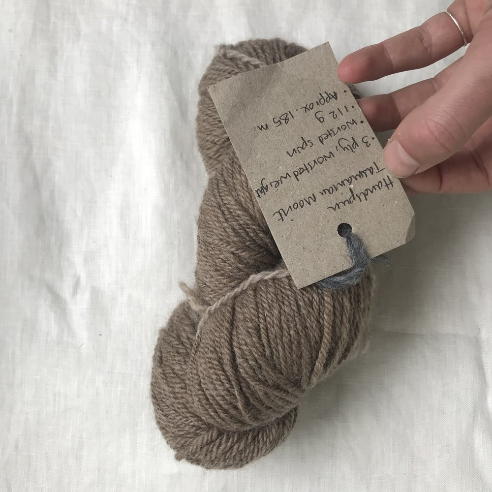 the most beautiful present ever, a handspun skein of Tasmanian Moorit by my angel Lauren Champs