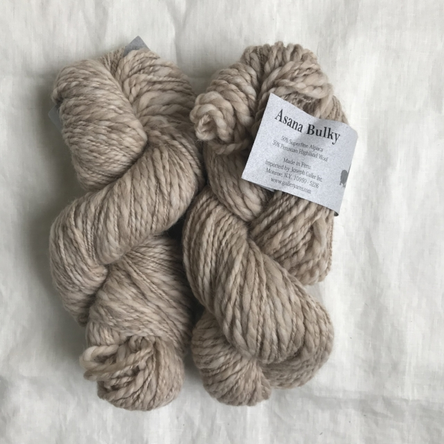 2 skeins Asana Bulky bought aaaages ago when Monarch Knitting (Pacific Grove, CA) moved & changes hands