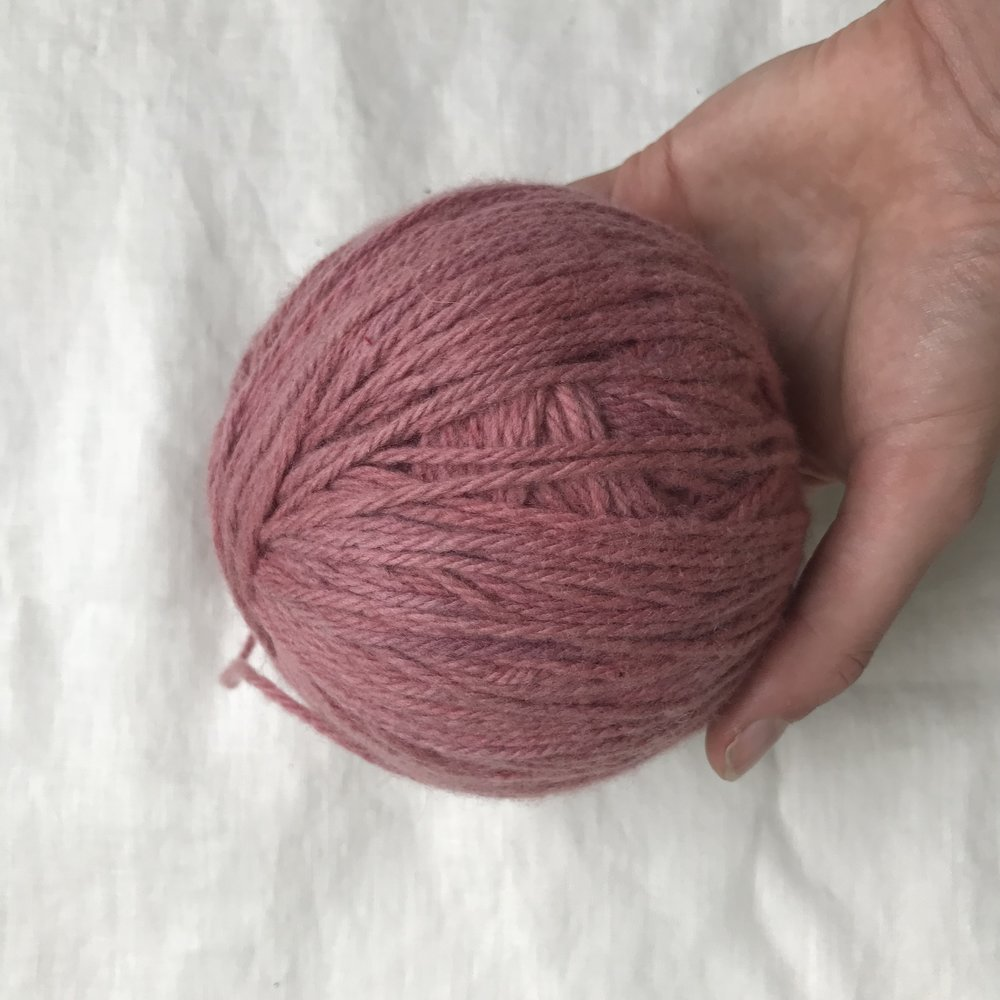 an incredibly special ball of millpost merino that Caroline and I dyed with cochineal one day while we were on hold for two hours to immigration