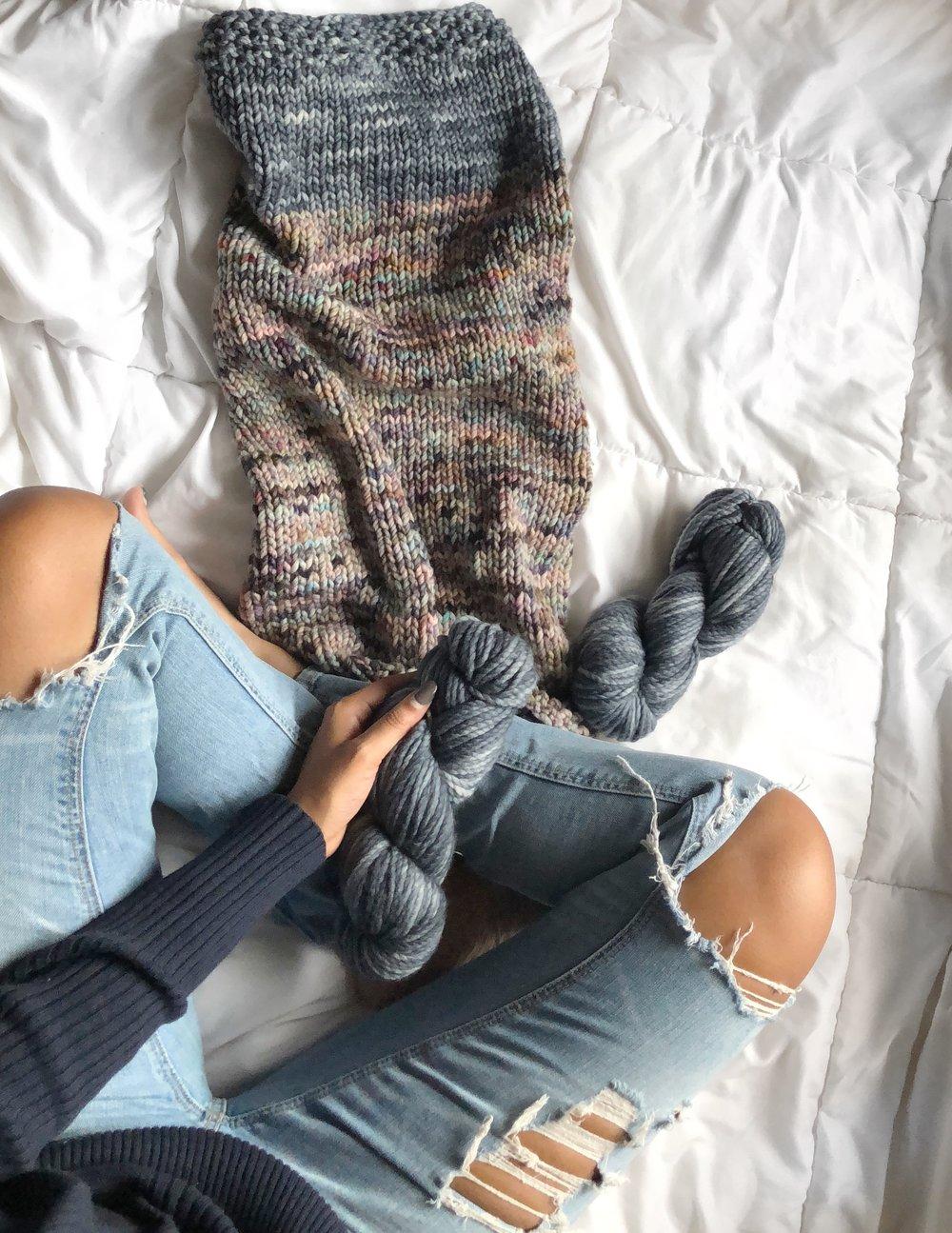 Jewell knitting her Nortknits Koigu Cowl.JPG