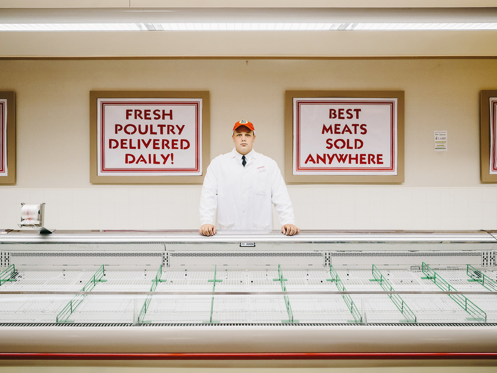 Market Basket #39 (Eric), Nashua, New Hampshire, 2014.  //   The Center for Fine Art Photography , exhibition   OPEN   (Curator: Shane Lavalette). On view 5 December 2014 - 10 January 2015.  //   Cover,  The Boston Globe Magazine , 24 August 2014 , and subsequently selected for  Coverjunkie .