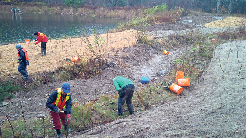 Volunteers installing live stakes to stabilize and restore the banks of the newly created stream channel in Creemore, ON. Creemore Nature Preserve, ON