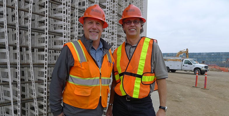 Octaform Systems President and CEO David Richardson (right) with David O'Dear, who served as Assistant Vice President of W. M. Lyles, the general contractor on the Perris, Calif. Digester project at the time of construction. The project is owned by CR&R Waste and Recycling Services.