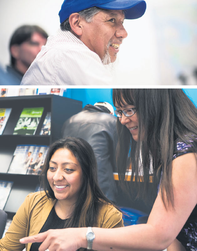 Among the western schools answering the call to lift members of underrepresented groups into the labour force are Simon Fraser University, which offered coding training to low-income Vancouver residents (top), and Bow Valley College, which participates in the the Alberta Aboriginal Construction Career Centres program (bottom). supplied