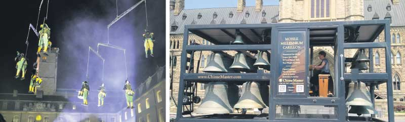 Stratford Summer Music highlights include Mobile Homme's aerial drumming act (left) and performances by Canada's Dominion Carillonneur Dr. Andrea McCrady on a mobile carillon (right). supplied