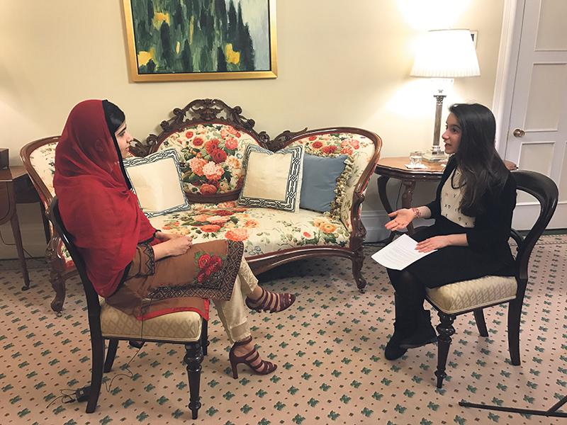 Hannah Alper speaking with Malala Yousafzai. Candace Alper
