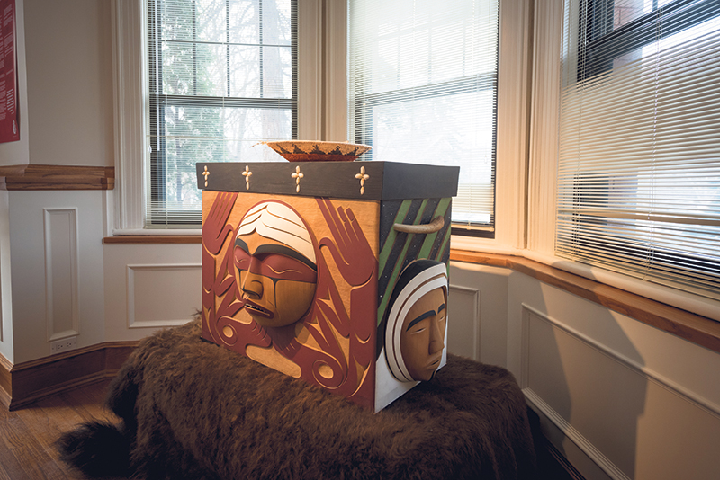 The bentwood box is a lasting tribute to all residential school survivors. The box travelled with the Truth and Reconciliation Commission – and offerings were made to it to commemorate personal journeys toward healing and reconciliation. It now lives at the National Centre for Truth and Reconciliation, where it continues to receive offerings and represents those for whom the centre is working and what it is working towards. supplied