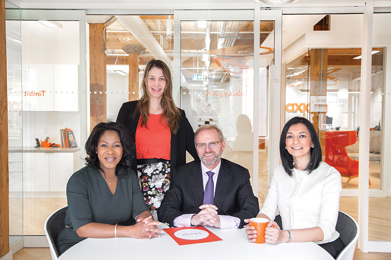 (From left) Colette Stewart, Natasha Gidaro, Ian Ness and Fazilah Hussain are part of Axiom's team of more than 70 Toronto-area lawyers. supplied