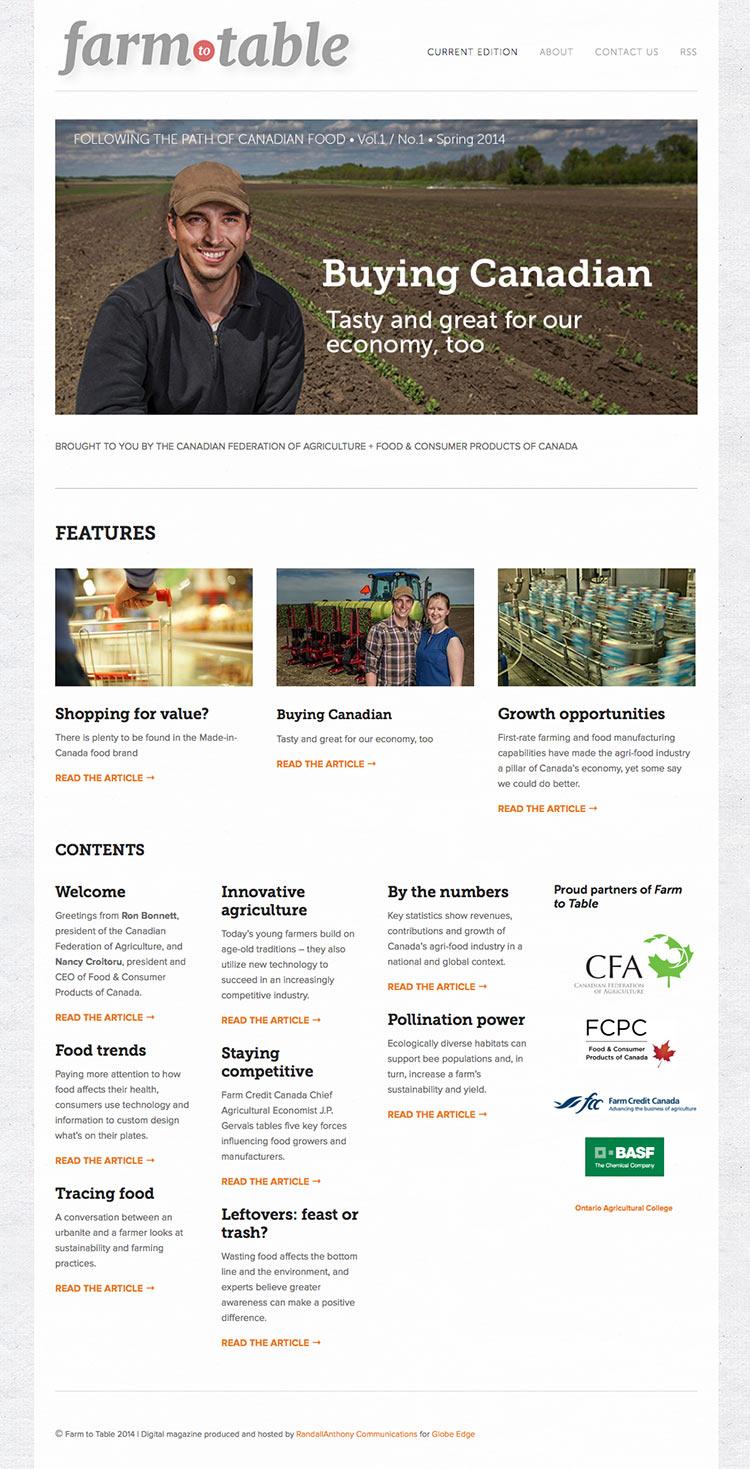 Farm to Table website